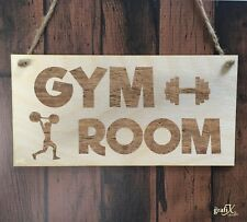 Gym Room Exercise Weights Muscles Wooden Plaque Sign Laser Engraved pq103