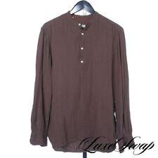 Eidos Napoli Made in Italy Slubby Coffee Brown Mandarin Collar Tunic Shirt M NR