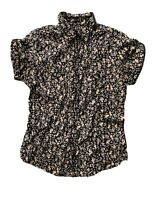 Hurley Women's Floral Print Black Multicolor Short Sleeve Button Up Shirt M