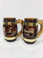 Vintage FLORIDA Siesta Ware Amber Glass Mug With Wooden Handle Souvenir