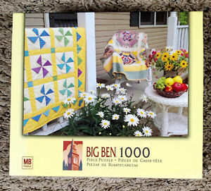Pinwheel Pattern Quilts 1000 Piece MB Big Ben Jigsaw Puzzle 4962-A48 Complete