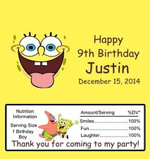 12 Personalized Sponge Bob Birthday Candy Bar Wrappers