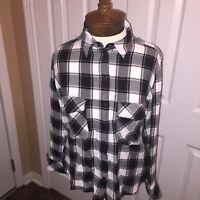 Sanctuary Size Small Plaid Flannel Shirt Black White Button Clasp Pocket-Front