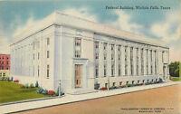 Linen Postcard AH B775 Federal Building Wichita Falls Texas 1946 Cancel Street