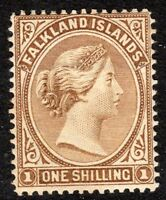 Falkland Islands 1891 yellow-brown 1/- crown CA mint SG38