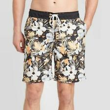 """Mens 9"""" Floral Graphic Swim Board Shorts Goodfellow & Co Black Floral M"""