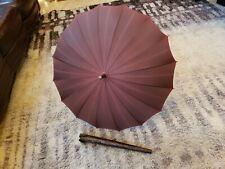 Vintage Umbrella Parasol Faux Alligator Leather Handle Tip Cover Case Antique