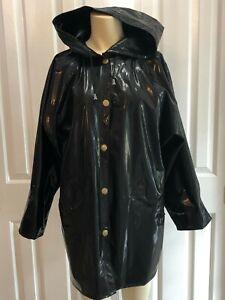 Vintage Kenn Sporn by Wippette Sz S Raincoat Waterproof Black Stripe Hooded