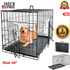 Extra Large Dog Crate 48 Kennel Folding Pet Cage 2 Doors XXL Metal Wire Tray Pan