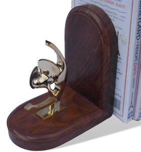 Detailed brass propeller wooden bookend