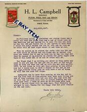 1927 LETTERHEAD Paris Texas H.L. CAMPBELL Flour CAPE COUNTY MILLING Jackson MO