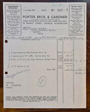 1964 Porter & Gardner, Transmissions, Market St, Church, Accrington Invoice