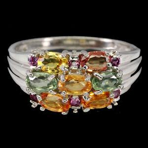 Oval Sapphire Rhodolite Garnet 14K White Gold Plate 925 Sterling Silver Ring 8