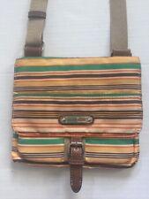 "FRANCO SARTO Striped Nylon CROSSBODY /  Messenger / Travel Bag / Purse 8""x 9"""