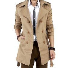 Men's Winter Slim Double Breasted Trench Coat Long Jacket Overcoat Outwear Brown