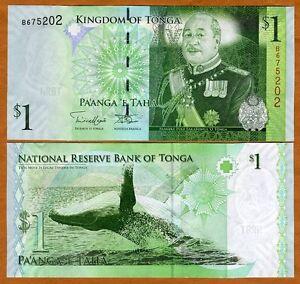 Tonga, Kingdom, 1 Pa'anga, ND (2008; 2014), P-37, New Signature, UNC > Whale