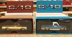 Set Of 2 Hot Wheels RLC Exclusive 1969 Chevrolet C-10 Pickup Truck Brown & Blue