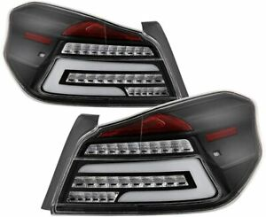 Fit 15-19 Subaru WRX/WRX STI Black LED Tube Style Tail Lights Brake Lamps 4-Door