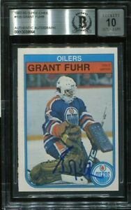 HOF GRANT FUHR signed autographed 1982-83 OPC ROOKIE CARD RC BECKETT (BAS) 10