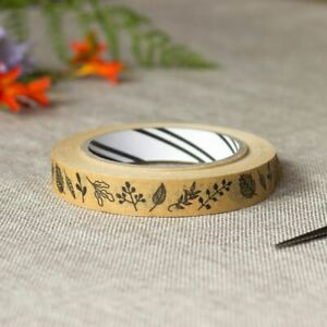 Leaf Print Gift Wrap Tape   Botanical Kraft Floral Craft Paper Eco-friendly 50m
