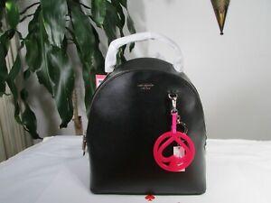 NWT Kate Spade Leather Sloan Medium Black Backpack & Spade Jelly Key Fob