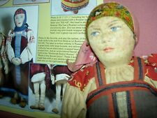 """Lovely large 15"""" antique Russian stockinette cloth doll, label Smolensk district"""
