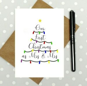 First Christmas as Mrs and Mrs card - Christmas card for wife - newlywed lesbian