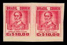 BRAZIL 1947 Count of Porto Alegre 10cr red - IMPERFORATED PAIR- Sc #668v PROOF