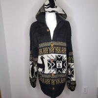 Incas Artesanias Ecuador Black Alpaca Button Front Hooded Jacket Womens Size XL