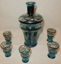 Turquoise Glass Decanter Italy Silver Overlay 5 Liqueur Shot Cordial Glasses