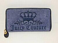 Blue Velvet Zip-Around Clutch Style Designer Wallet - JUICY COUTURE - NEW, LOGO