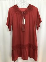 L Love Tunic Boutique V-Neck Tassels Lace Rayon Red Orange Women Size S - NWT