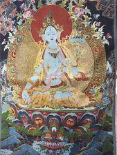 "24"" Tibetan Nepal Silk Embroidered thangka Tara buddhist Holding lotus Guanyin"