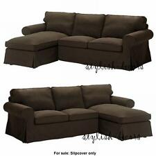 Ikea COVER for Ektorp Sectional Loveseat w/ Chaise Longue Svanby Brown Slipcover