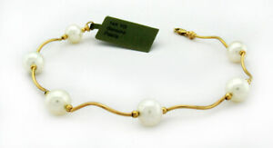 GENUINE WHITE PEARLS BRACELET 14K GOLD ** New With Tag **