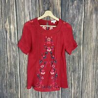 Umgee Small Top Women's Multicolor Floral Embroidered Casual Peasant Boho