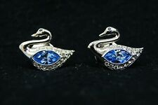 Pair of Swarovski White & Topaz Blue Crystal Swan Shaped Tie Tack Signed B3006
