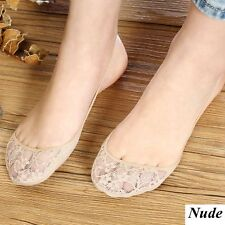Women Cotton Lace Half Feet Antiskid Invisible Liner No Show Low Cut Sling Sock