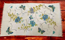 VTG FASHION FLORAL rose hand BATH TOWEL Baby light Blue butterfly terry cloth