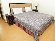 Hand Block Print Bed Cover Indian Quilt King Bedding Cotton Bedspread Coverlet