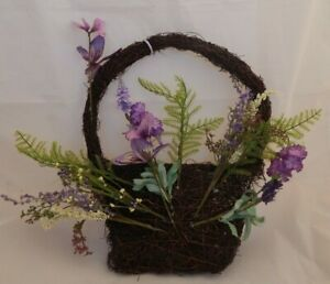 Artificial floral Lavender butterfly hanging basket wreath display UK SELLER