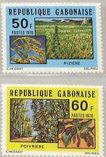 GABON GABUN 1976 609-10 372-73 Agriculture Landwirtschaft Rice Pepper Plants MNH