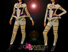 CHARISMATICO Purple and silver Lady Gaga corset with silver bodystocking costume