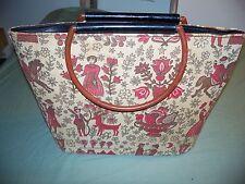 Vintage large Handbag Plastic Bakelite Style Handles Neat 14 x 11 in.