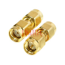 10 pcs in bulk sales golden RP SMA male to SMA male connector adaptor