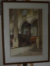A Lovely Old Church Interior Watercolour Signed by J.Eyre