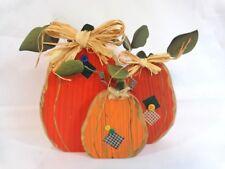 "Pumpkin Trio Figurine 8"" Handmade Wood Orange Fabric Patches Distressed"