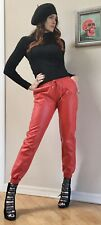 Vtg Designer Look Red Faux Leather Vegan Jogger Pants S