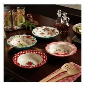"Pioneer Woman Holiday Medley Special Christmas Edition 9""Low Rim Bowl Set 4 NEW!"