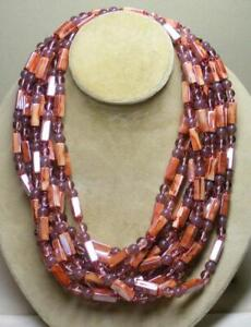 """JOAN RIVERS 5 STRAND 42"""" LONG ROSE RECTANGLE BEAD NECKLACE NEW WORN 2 WAYS"""
